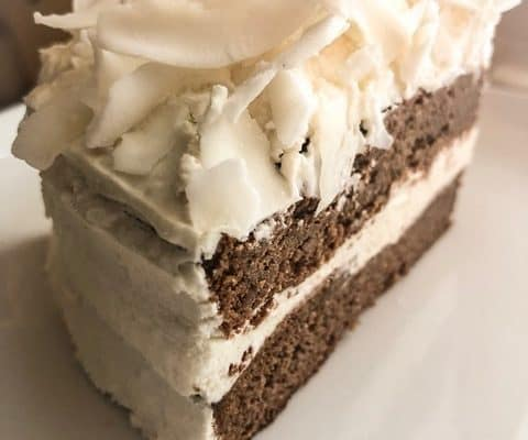 keto coconut chocolate cake with cream cheese frosting